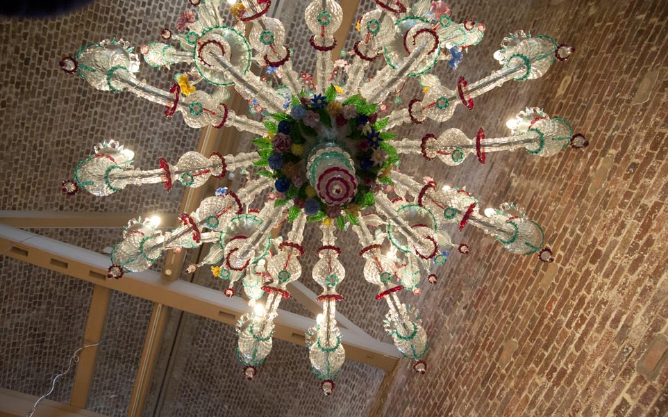 """Rezzonico""  chandelier, multicolored hand-made blown glass  by Galliano & Ferro in Murano H 200 x 166 x 166 cm / kg 40 Replica of ""Ciocca""  by  G. Briati (XVIII century)  on display at Museum of Ca' Rezzonico, Venice."