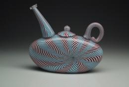 Dick Marquis Oculare Teapot 03-3 (INV. 1363) 2003 Blown glass, zanfirico technique h.16.5 x w.18.5 x d.6 cm Courtesy: Caterina Tognon Venezia